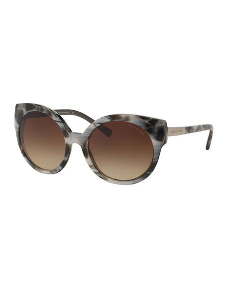 Round Cat-Eye Sunglasses, Black Marble