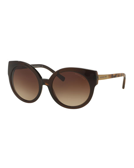 Michael Kors Round Cat-Eye Sunglasses, Brown