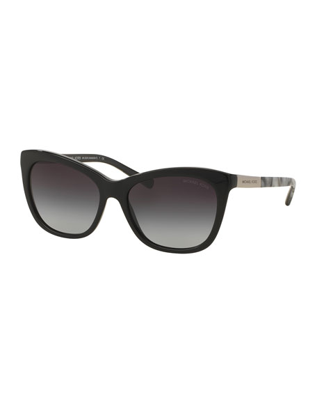 Michael Kors Two-Tone Square Cat-Eye Sunglasses, Black
