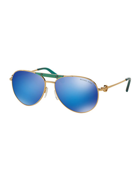 Michael Kors Mirrored Logo Aviator Sunglasses, Gold/Turquoise