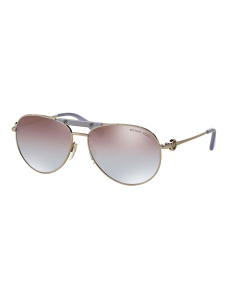 Michael Kors Mirrored Iridescent Logo Aviator Sunglasses,