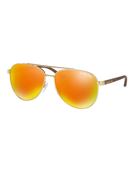 Mirrored Iridescent Contrast-Trim Aviator Sunglasses, Gold/Orange