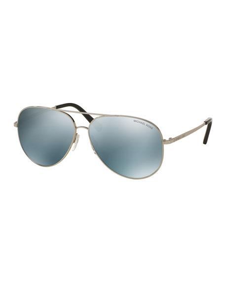 Michael Kors Mirrored Aviator Sunglasses, Silvertone