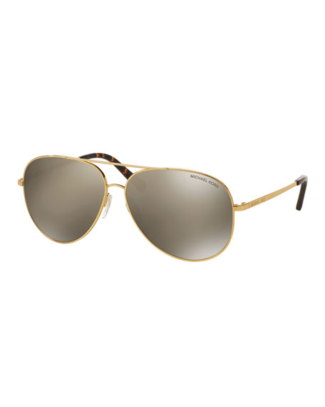 Michael Kors Mirrored Aviator Sunglasses, Golden