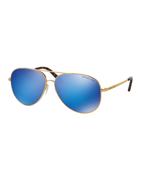 Michael Kors Mirrored Flash Aviator Sunglasses, Gold/Blue
