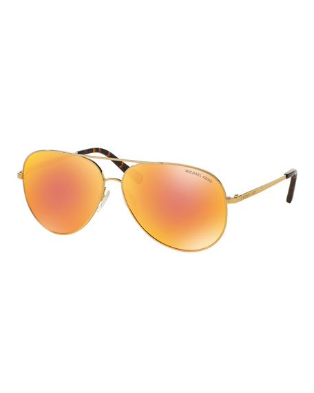 Michael Kors Mirrored Iridescent Aviator Sunglasses, Gold/Orange