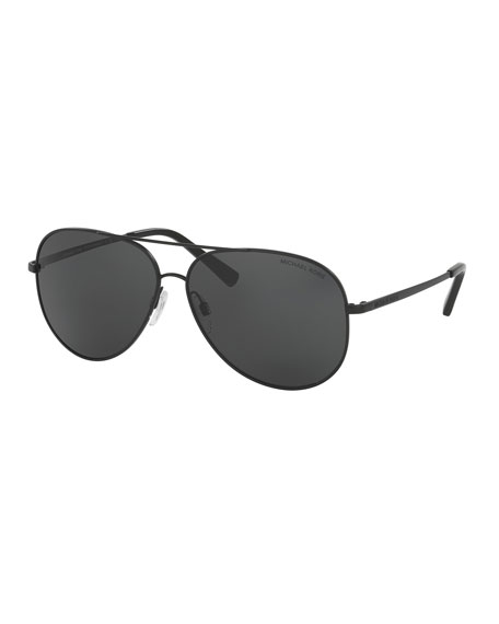 Michael KorsMonochromatic Aviator Sunglasses, Matte Black