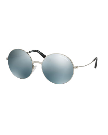 Michael Kors Round Flash Metal Sunglasses, Silver
