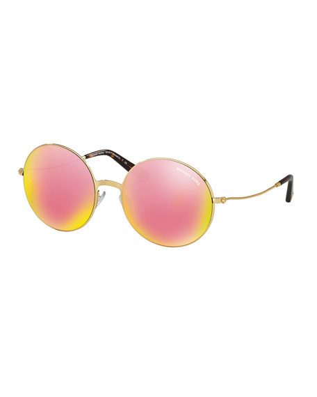 Michael KorsMirrored Round Metal Sunglasses, Gold