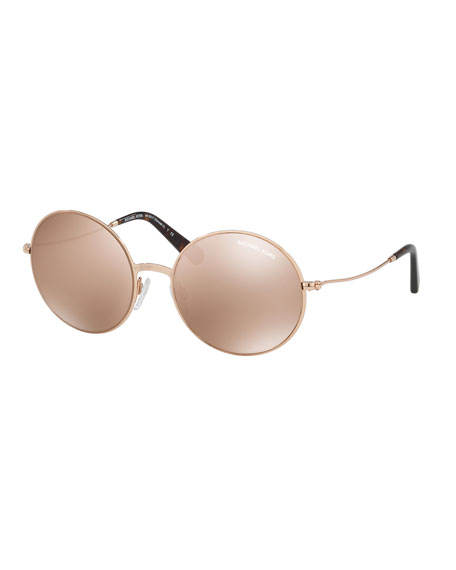 Michael Kors Mirrored Round Metal Sunglasses, Rose Gold