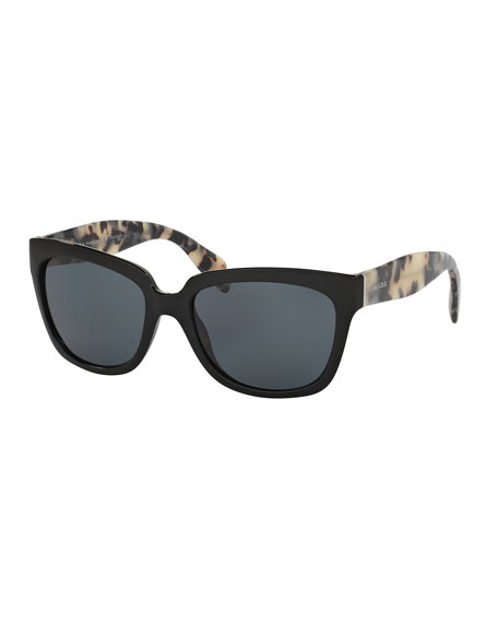 Polarized Square Two-Tone Sunglasses, Black