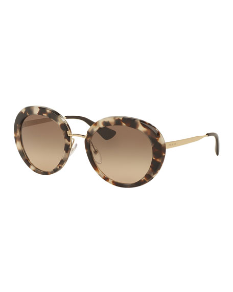 Prada Round Gradient Plastic/Metal Sunglasses, Opal Brown