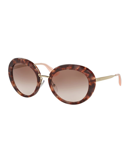 Prada Round Gradient Plastic/Metal Sunglasses, Brown/Pink