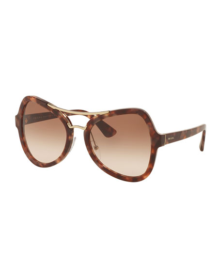 Prada Gradient Oversized Aviator Sunglasses, Brown/Pink