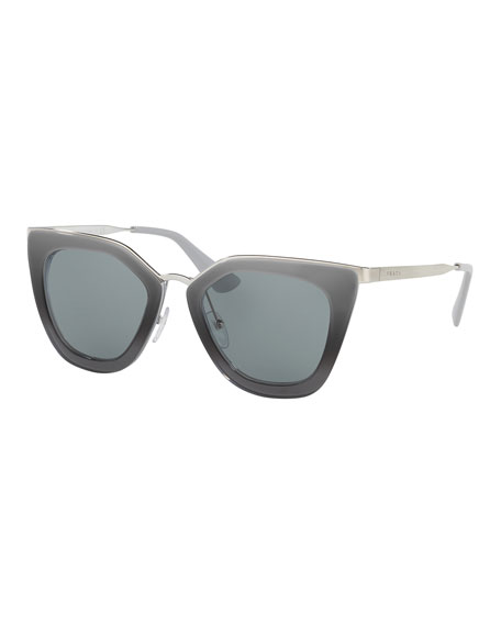 Prada Monochromatic Metal-Trim Geometric Cat-Eye Sunglasses, Gray