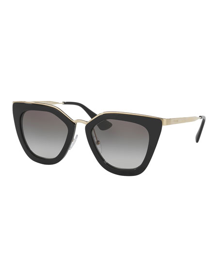 Gradient Metal-Trim Geometric Cat-Eye Sunglasses, Black