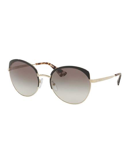 Prada Gradient Capped Butterfly Sunglasses, Black