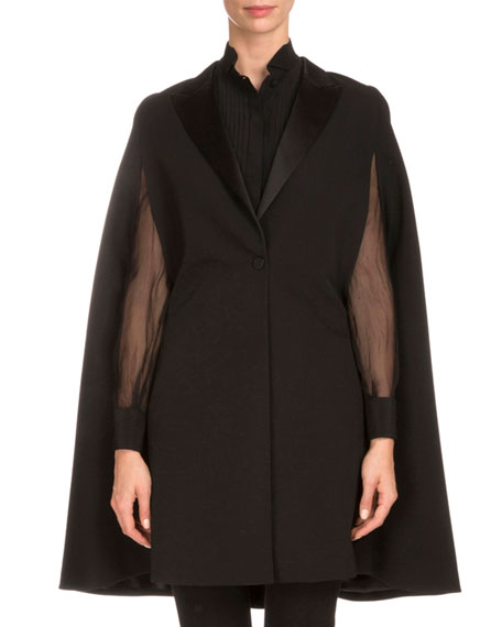 One-Button Tuxedo Cape, Black