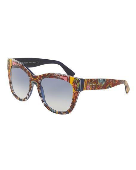 Dolce & Gabbana DNA Printed Square Sunglasses, Multicolor
