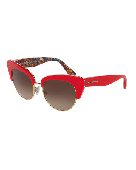 Dolce & Gabbana DNA Semi-Rimless Cat-Eye Sunglasses, Red
