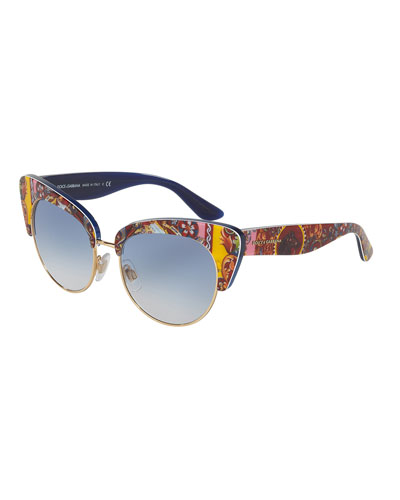 DNA Semi-Rimless Cat-Eye Sunglasses, Multicolor