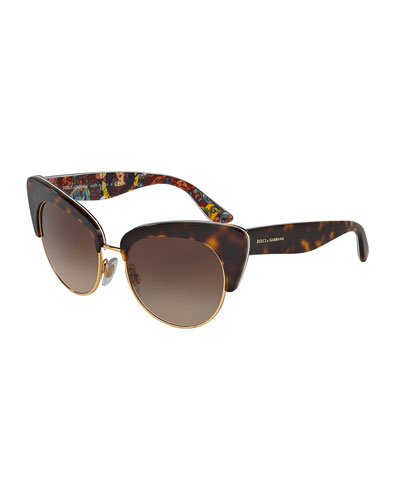 DNA Semi-Rimless Cat-Eye Sunglasses, Havana