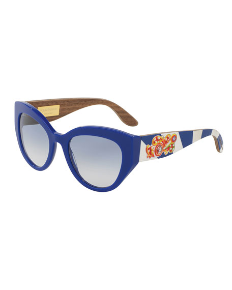 Dolce & Gabbana Wood-Trim Universal-Fit Cat-Eye Sunglasses, Blue