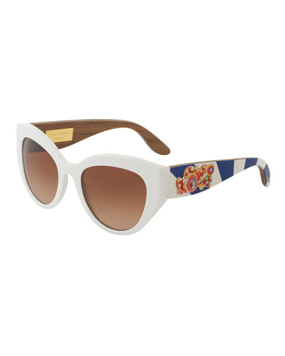 Wood-Trim Universal-Fit Cat-Eye Sunglasses, White