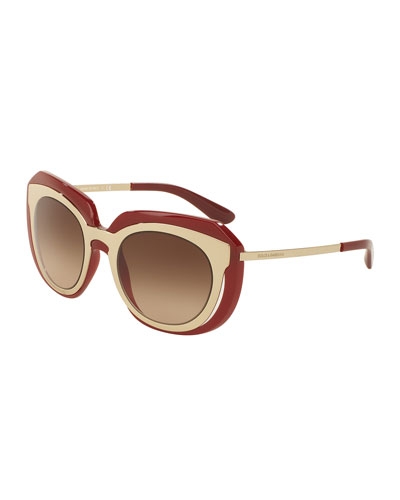 DNA Metal-Inset Butterfly Sunglasses, Burgundy