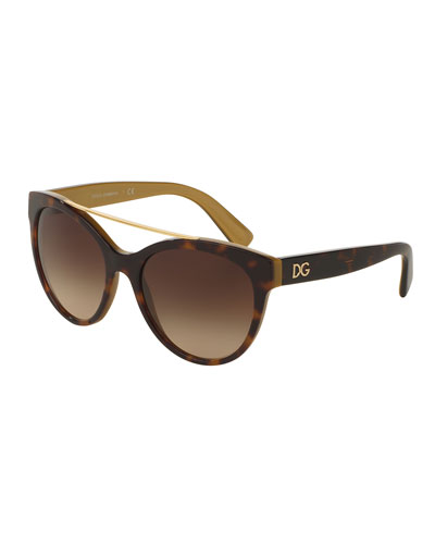 Universal-Fit Brow-Bar Sunglasses, Havana