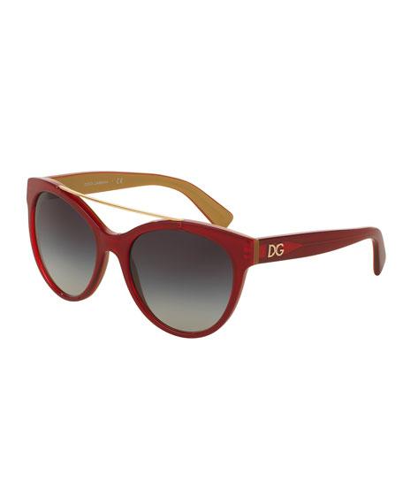 Dolce & Gabbana Universal-Fit Brow-Bar Sunglasses, Red