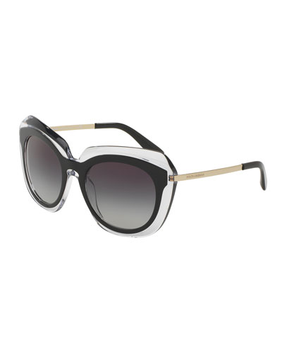 DNA Transparent-Trim Universal-Fit Sunglasses, Black