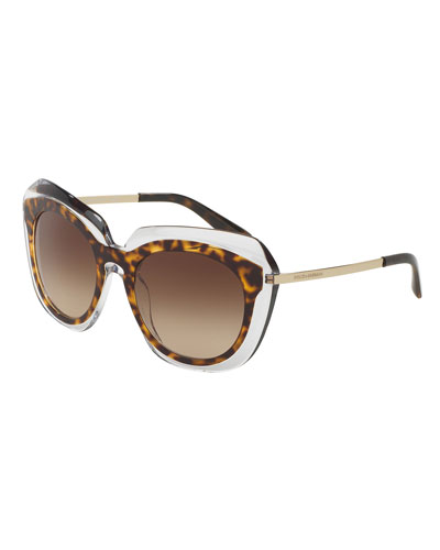 DNA Transparent-Trim Butterfly Sunglasses, Havana
