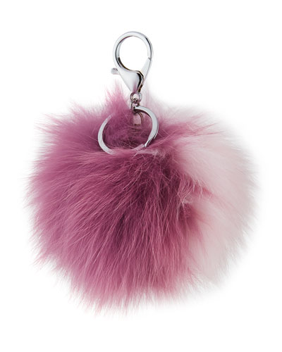 Two-Tone Fox Fur Pompom/Charm for Handbag, Purple/Pink