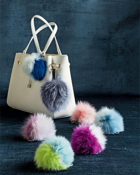 Two-Tone Fox Fur Pompom, Fuchsia/Light Pink
