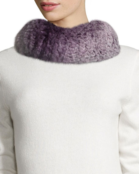 GP Luxe Knitted Rabbit Fur Funnel Scarf, Purple