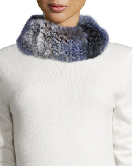 GP Luxe Knitted Rabbit Fur Funnel Scarf, Blue
