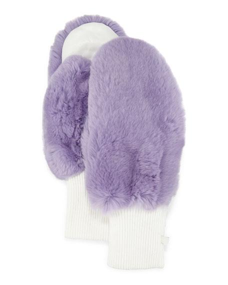 GP Luxe Rabbit Fur/Knit Mittens, Lavender