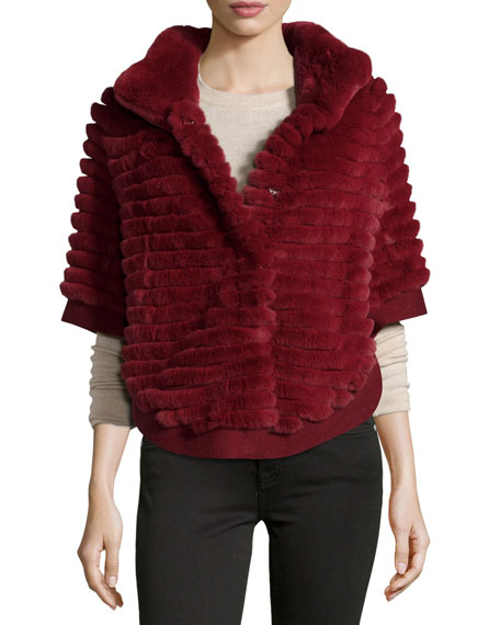 GP Luxe Layered Rabbit Fur Poncho, Bordeaux