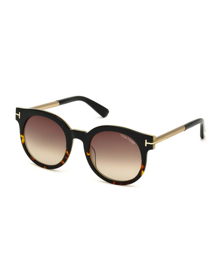 TOM FORD Janina Two-Tone Cat-Eye Sunglasses, Havana