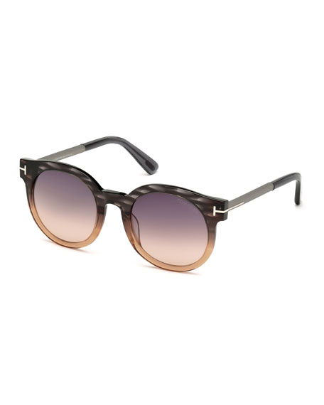 TOM FORD Janina Ombre Cat-Eye Sunglasses, Peach