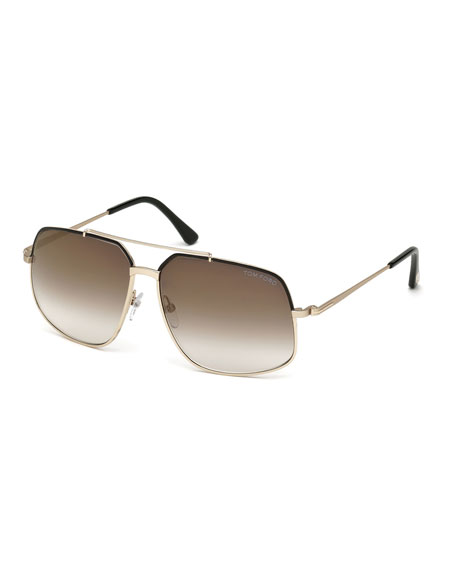 rose gold aviators  TOM FORD Ronnie Gradient Geometric Aviator Sunglasses, Rose Gold/Black