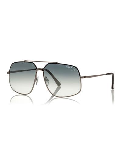 Ronnie Gradient Geometric Aviator Sunglasses, Light Gunmetal