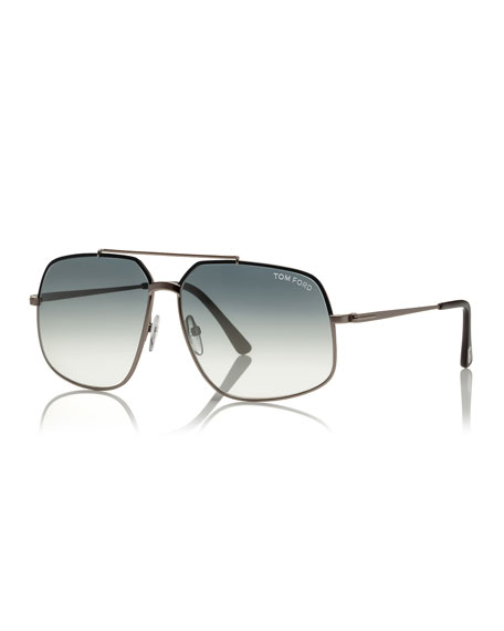 TOM FORD Ronnie Gradient Geometric Aviator Sunglasses, Light
