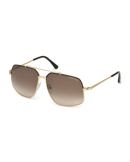 TOM FORD Ronnie Gradient Geometric Aviator Sunglasses, Rose