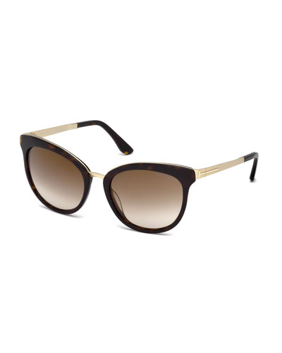 Emma Gradient Cat-Eye Sunglasses, Dark Havana