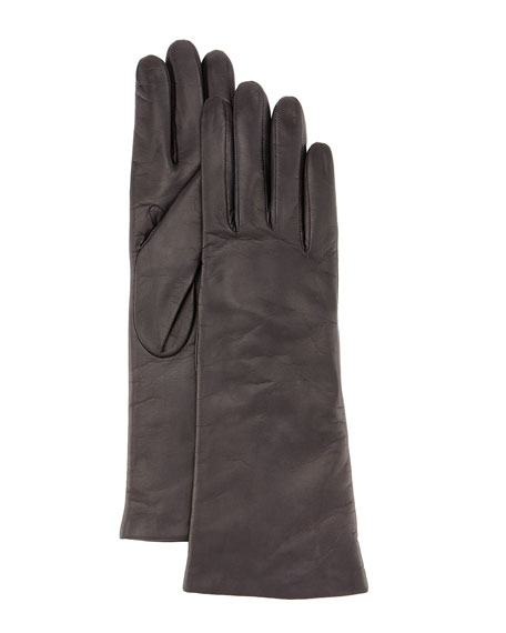 Cashmere-Lined Napa Leather Gloves, Brown