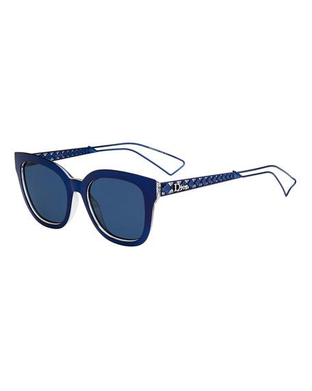 DiorDiorama Caged Monochromatic Sunglasses, Blue