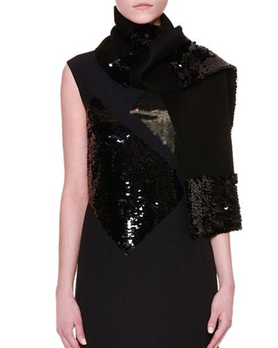 Embellished Cashmere-Blend Scarf, Black