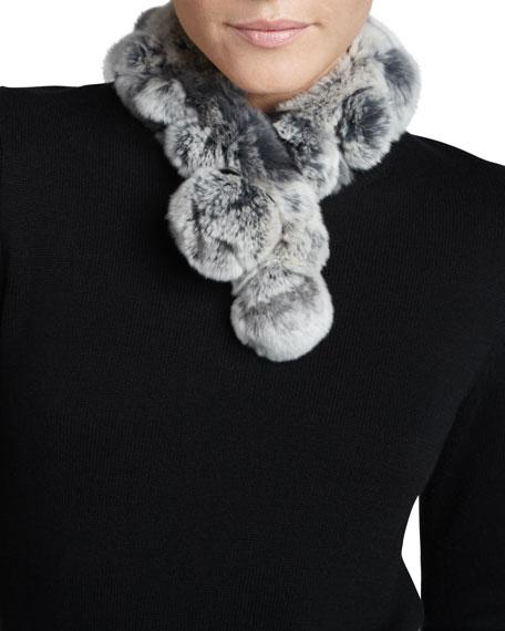 Belle Fare Rabbit Fur Neck Warmer, Chinchilla Gray